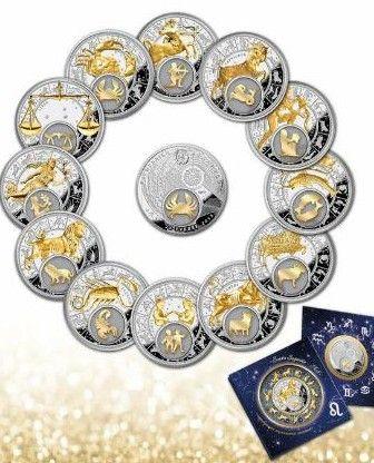 серебряные монеты по знакам зодиака
