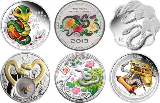 серебряные монеты к году змеи