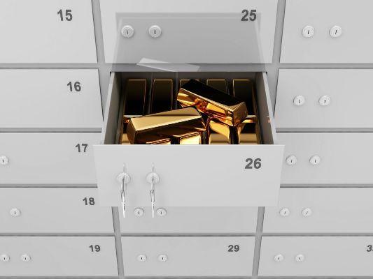 золотые слитки в банковской ячейке
