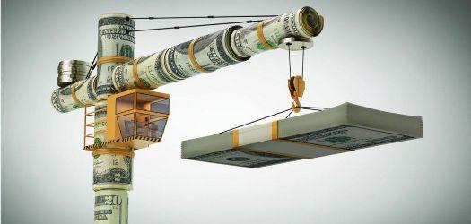 строительный кран из долларов